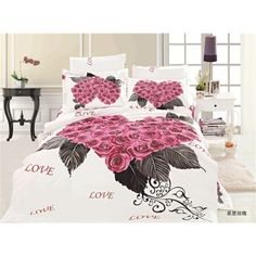 3D Duvet Cover Bedding Sets With Romantice Rose For Romantice Love - USD $130