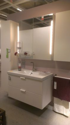 "Ikea Godmorgen Odensvik vanity and sink 39""w $299, Storjorm mirror w/ storage $300, Lundskar faucet (available in chrome) $99.99. Note: look for a mirror with sliding doors."