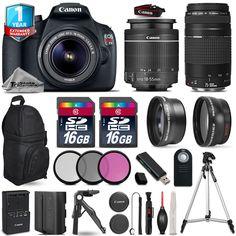 Canon EOS Rebel T5 Camera  18-55mm III  75-300mm III EXT BAT 1yr Warranty