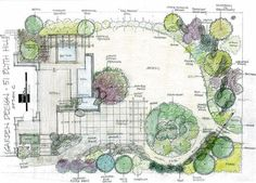 Grand swoop of a partial circle intersecting with trees, pools, patio and deck.