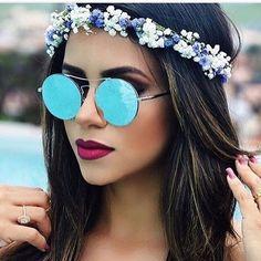 """óculos de sol round  Tendencia neste verão 2017,lentes espelhadas e """"chapadinhas"""" como eu gosto de chamar!! Lindas um charme e tanto!!*"""