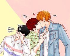 Hasil gambar untuk vkook fanart kiss