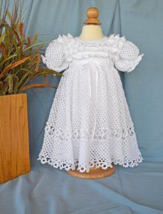 b6a33dc89847 White Christening   Blessing Gown and Slip - Baby Dress - READY TO SHIP -  13074-G