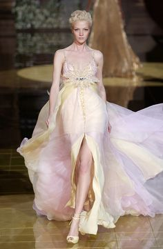 pretty pale pink chiffon wedding gown