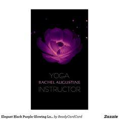 Elegant Black Purple Glowing Lotus Yoga Instructor Business Card