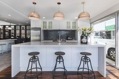 Modern country kitchen with Caesarstone island bench Modern Country Kitchens, Island Bench, Kitchen Gallery, Table, Furniture, Home Decor, Modern Rustic Kitchens, Decoration Home, Kitchen Photos