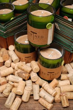 Rewined candles made out of repurposed wine bottles... Hand poured soy candles made in Charleston SC. Each season Rewined offers a seasonal scented candle available for a limited time!