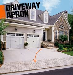 Curb appeal begins at the front drive. A driveway apron is where the street pavement or sidewalk meet a home's driveway. Aprons are often decorative but also intended to lend durability to the opening of the driveway.
