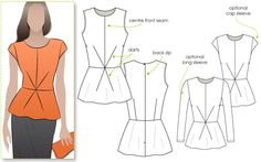 Georgia Peplum Top Sewing Pattern By Style Arc