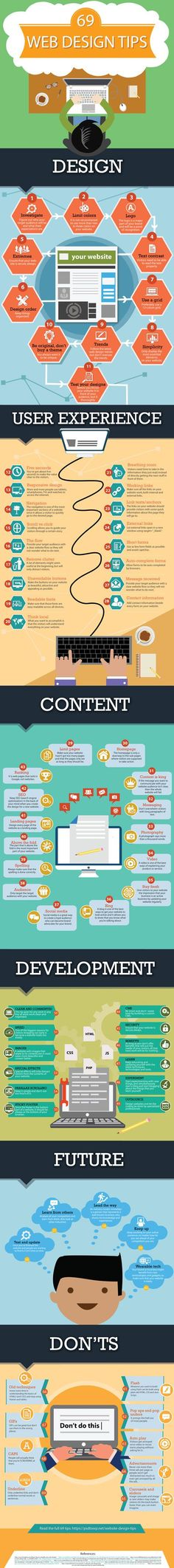 Infographic: 69 Web Design Tips . - Infographic: 69 Web Design Tips More - {hashtag} Web And App Design, Web Design Trends, Design Websites, Graphisches Design, Web Design Tips, Logo Design, Layout Design, Design Ideas, Ecommerce Websites
