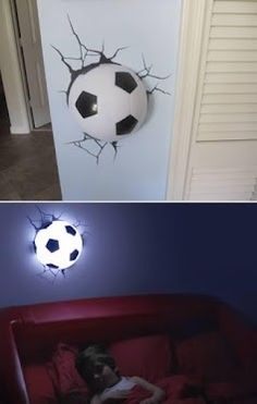 10 Insanely Cool Wall Lamps - cool lamps, unusual lamps I luv these I buy them as gifts for boys for birthdays they have everyting from hockey tennis football . Nate wants a soccer room so now i just bought him 1 too! Play Soccer, Soccer Ball, Soccer Stuff, Soccer Shop, Kids Soccer, 3d Deco Light, 3d Light, Football Rooms, Football Pub