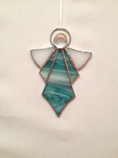 Stained Glass Ornament  Aqua Angel by MamaAgees on Etsy, $8.00