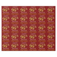 "Red Faux Gold ""HAPPY 96th BIRTHDAY"" Wrapping Paper - simple clear clean design style unique diy"