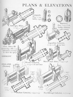 European Architecture — Romanesque plans and elevations Graphic History. Sacred Architecture, Architecture Romane, Cathedral Architecture, Romanesque Architecture, Classic Architecture, Architecture Drawings, Concept Architecture, Historical Architecture, Architecture Details