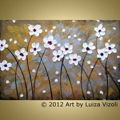 DANCING FLOWERS Original Modern Floral Landscape Textured Palette Knife Metallic Painting by Luiza Vizoli -white,gold,silver,brown,copper,touch of purple,red,black-beautiful details,a lot of texture    Notice: © 2012 All rights reserved Luiza Vizoli Studio