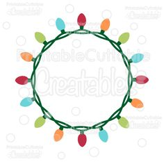 Christmas Lights Circle Monogram Frame Free SVG Cut File - Free SVG cut files for Silhouette, Cricut cutting machines. Free digital die cut files