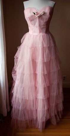 EMMA DOMB Pink and Silver Tiered Tulle Prom Dress