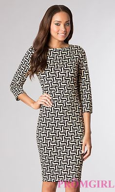 Knee Length Print Dress with 3/4 Length Sleeves