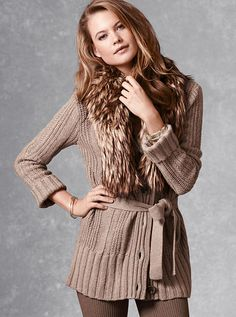 Victoria's Secret - Cable-knit Cardi Sweater Coat - A Kiss of Cashmere. Sweater Coats, Cable Knit Sweaters, Sweater Jacket, Knitted Coat, Long Cardigan, Autumn Winter Fashion, Fall Fashion, Winter Style, Knitwear