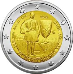 N♡T.2 euro: 75th Anniversary of the Death of Spyridon Louis Country: Greece Mintage year: 2015 Face value: 2 euro Diameter: 25.75 mm Weight: 8.50 g Alloy: Bimetal: CuNi, nordic gold Quality: Proof, BU, UNC