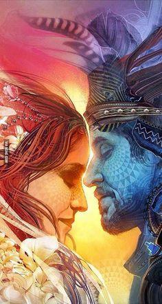 'Union' ~by Android Jones - (detail) Spiritual Love, Spiritual Awakening, Spiritual Quotes, Tantra, Life Partner Quote, Twin Flame Reunion, Android Jones, Twin Flame Love, Twin Flames