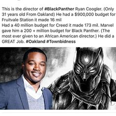 Black History month day 21 I will like to honor one of the greatest film directors and screenwriters ever Ryan Coogler. Ryan directed and wrote Fruitvale Station Creed and Black Panther three of the best movies to ever hit the screens.