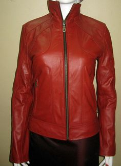 Red leather jacket casual wear biker style 602  $229.99 image