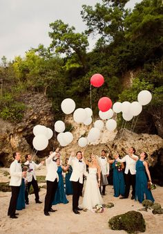 #beach #balloons Photography by studioimpressions.com.au Floral Design by bloomzflowersbali.com/ Event Planning by mnm-concepts.com/  Read more - http://www.stylemepretty.com/2013/04/02/bali-wedding-from-studio-impressions-photography/