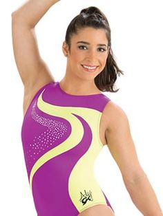 Purple and Yellow Day Glo Aly Raisman Gymanstics Leotard from GK Elite