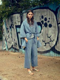 Cozy wrap coat and denim culottes // Ganni Pre-Fall '15 lookbook