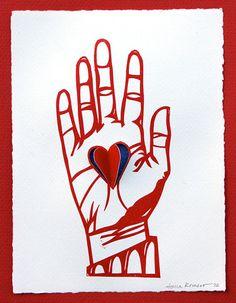 Heart in Hand Collograph Papercut Print http://www.etsy.com/listing/93004308/heart-in-hand-collograph-papercut-print?utm_source=Pinterest&utm_medium=PageTools&utm_campaign=Share