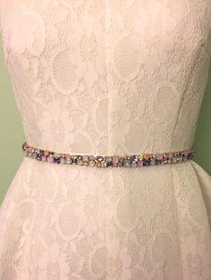 Pastel Blush Pink, Lavender Purple, and Ivory Skinny Scattered Crystal and Cloudy Opal Satin Ribbon Jewel Embellished Beaded Bridal Sash by BlushingBridalShop on Etsy  www.etsy.com/shop/blushingbridalshop