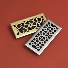 Ornate Heat Registers  by Allen + Roth  Inspired by 19th-century designs and given an antiqued-brass or brushed-nickel finish, these steel covers dress up forced-air vents. You could also line them with speaker fabric to hide audio outlets.    About $12-$19, lowes.com.