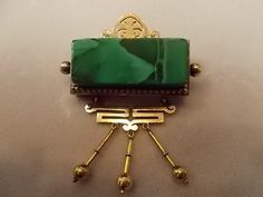 14K GOLD VICTORIAN MALACHITE PIN AND EARRING SET VINTAGE ANTIQUE | eBay