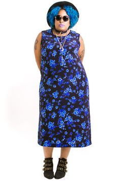 Vintage Blue Bell Maxi Dress - One Size Fits Many