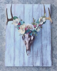My first attempt at a deer skull flower crown