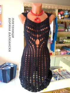 Hand knitted dress Knitted dress in black   lace dress