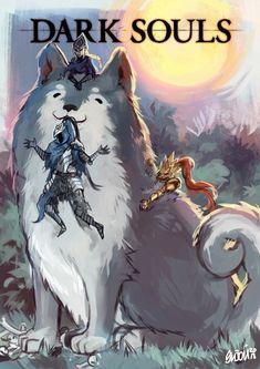 Arte Dark Souls, Dark Souls 3, Demon's Souls, Dark Souls Artorias, Wolf Artwork, Praise The Sun, Dragon Slayer, Soul Art, Dark Fantasy Art