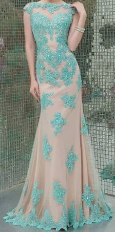 Nude Floral Turquoise Gown