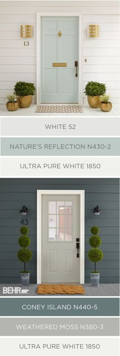 Cleaning up the exterior of your home in time for spring doesn't have to be hard. You can raise your house's curb appeal in just a few easy steps. These two color palettes from BEHR Paint use traditio (Porch Step Curb Appeal) Exterior Gris, Exterior Color Palette, Exterior Paint Colors For House, Paint Colors For Home, Exterior Design, Paint Colours, Bher Paint Colors, Exterior Shutters, Facade Design