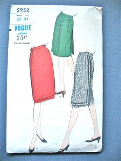 Early 60s Vintage Vogue 5952 Wrap Look  Skirt Sewing Pattern  Waist 25 and Hip 34 inches di Fancywork su Etsy https://www.etsy.com/it/listing/216867832/early-60s-vintage-vogue-5952-wrap-look