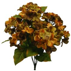 1 Pc, 18.5 Inch Artificial Hydrangea Bush w/7 Stems As Part Of Fall Decorations - Brown/Green
