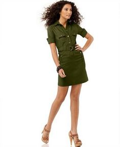 short and sweet military shirt dress - I want this in crimson!