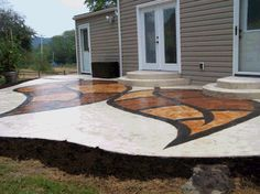 Gotta try this Painting Concrete, Stained Concrete, Concrete Patios, Concrete Floors, Outdoor Ideas, Outdoor Decor, Unique Flooring, Concrete Design, Decks And Porches
