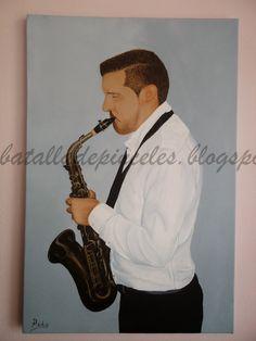 Batalla de pinceles: David tocando el saxofón.