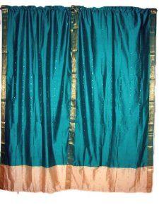 India Curtains 2 Dark Turquoise Artsilk Sari Curtains Ivory Border Window  Dressing 84: Home U0026