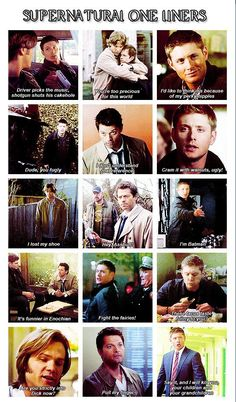 Supernatural One-Liners Seasons 1 through The Castiel ones though. Sam Y Dean Winchester, Winchester Brothers, Sam Dean, Supernatural Fans, Supernatural Tattoo, Supernatural Wallpaper, Best Supernatural Quotes, Supernatural Poster, Supernatural Cosplay