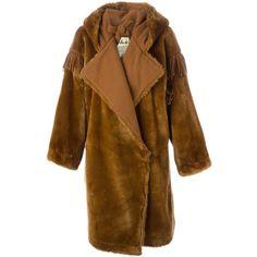 Jc De Castelbajac Vintage Faux Fur Oversized Coat ($1,017) ❤ liked on Polyvore featuring outerwear, coats, brown, oversized hooded coat, fake fur coats, hooded coats, imitation fur coats and vintage coat