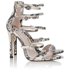 Faith Snake Skin Heeled Sandals ($64) ❤ liked on Polyvore featuring shoes, sandals, heeled sandals, snakeskin sandals, multi-strap sandals, holiday shoes and cocktail shoes