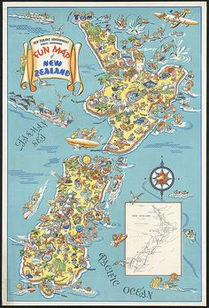 I'm a bit homesick for NZ right now. [The fun map of New Zealand. Much better than the Sucks To Be Alive map of New Zealand. Map Of New Zealand, New Zealand Travel, Europe Continent, Tourism Poster, Boston Public Library, Kiwiana, Wanderlust, Travel Maps, Travel Destinations